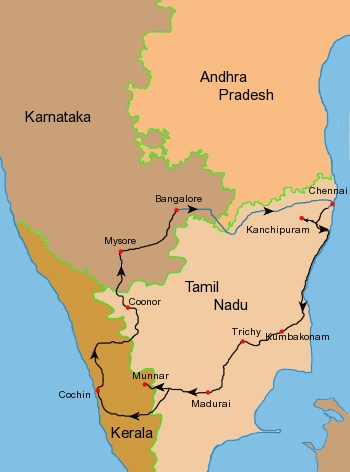 Indien Süd Map